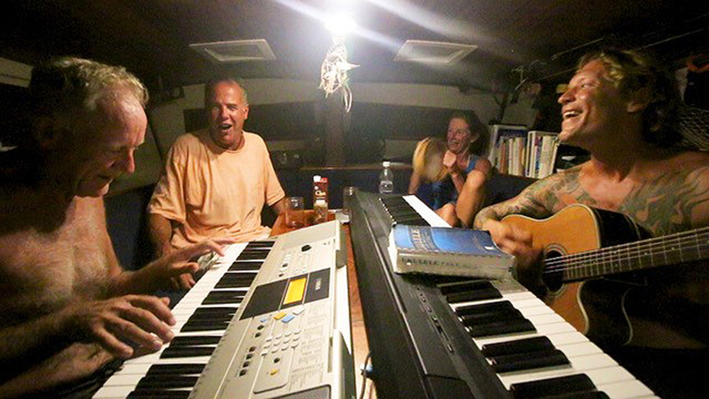 Jamming on board S/V Zingaro with Kevin, James and Kim