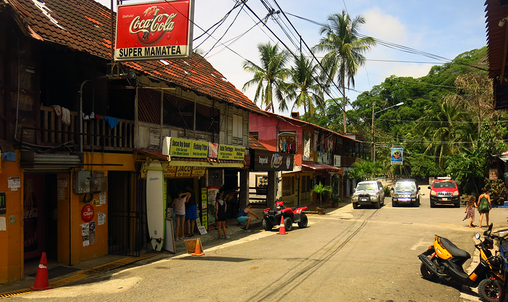 The main street in Montezuma, a very relaxed village