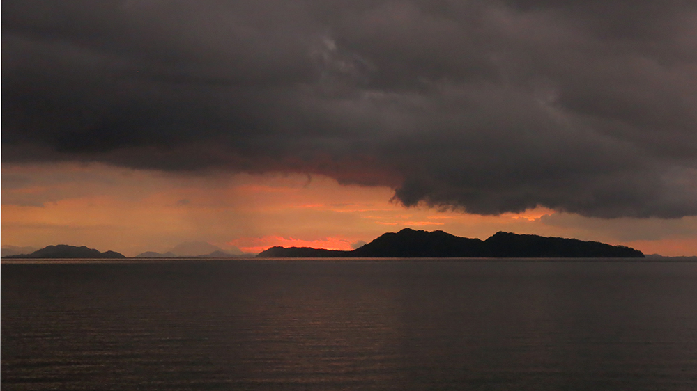 Sunset and moody weather in the Golfo de Nicoya