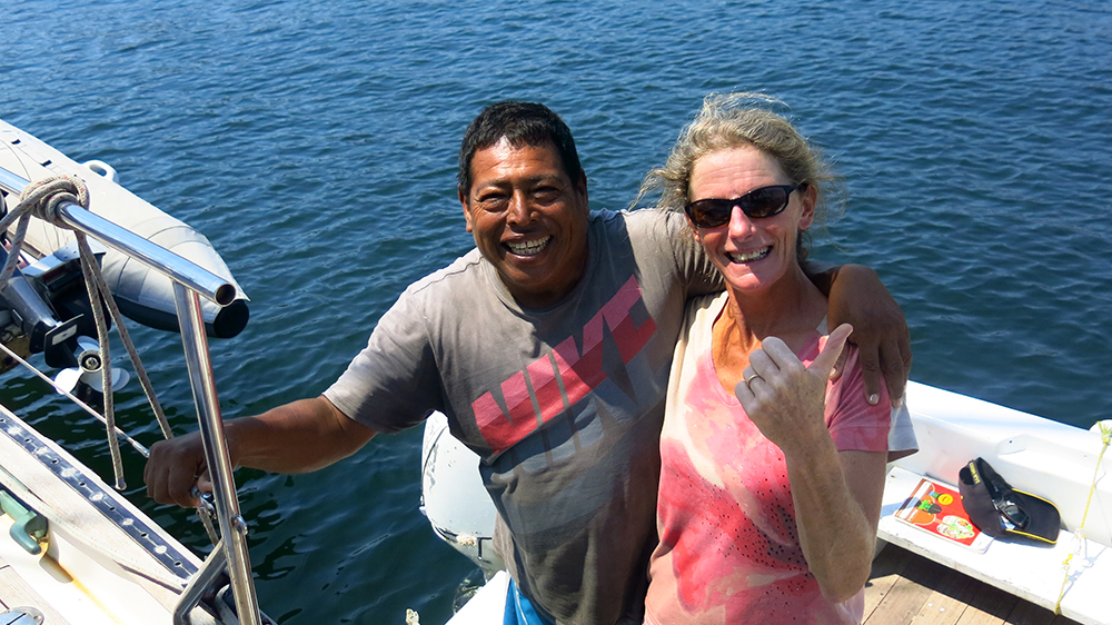 Vincent helped us find a mooring and provided water taxi, laundry and potable water services