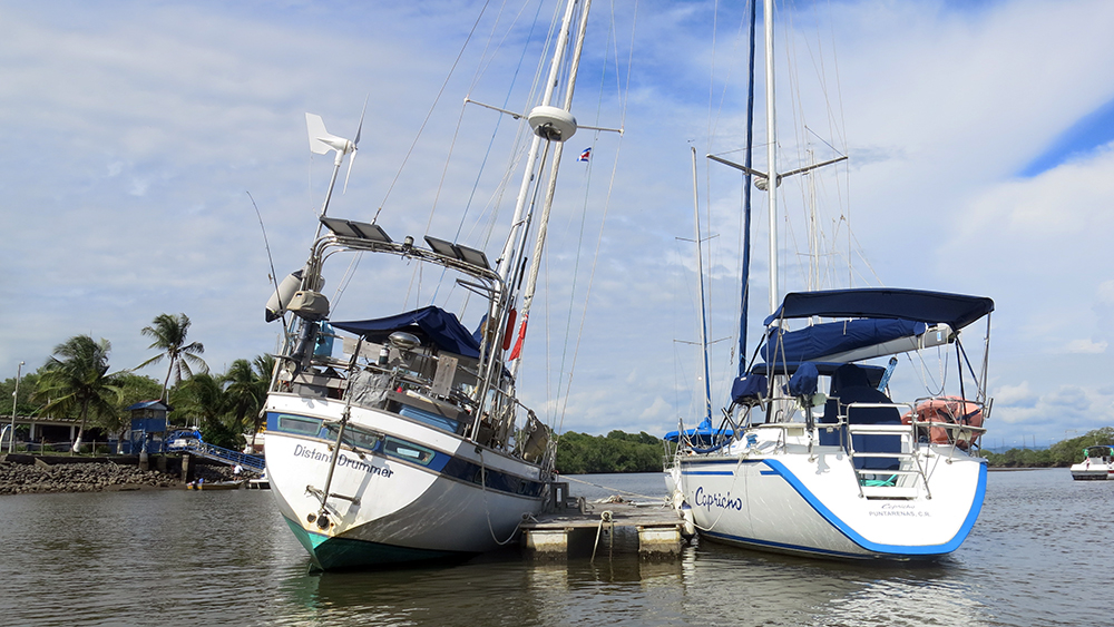 Heeled over at the floating dock at the Costa Rica Yacht Club