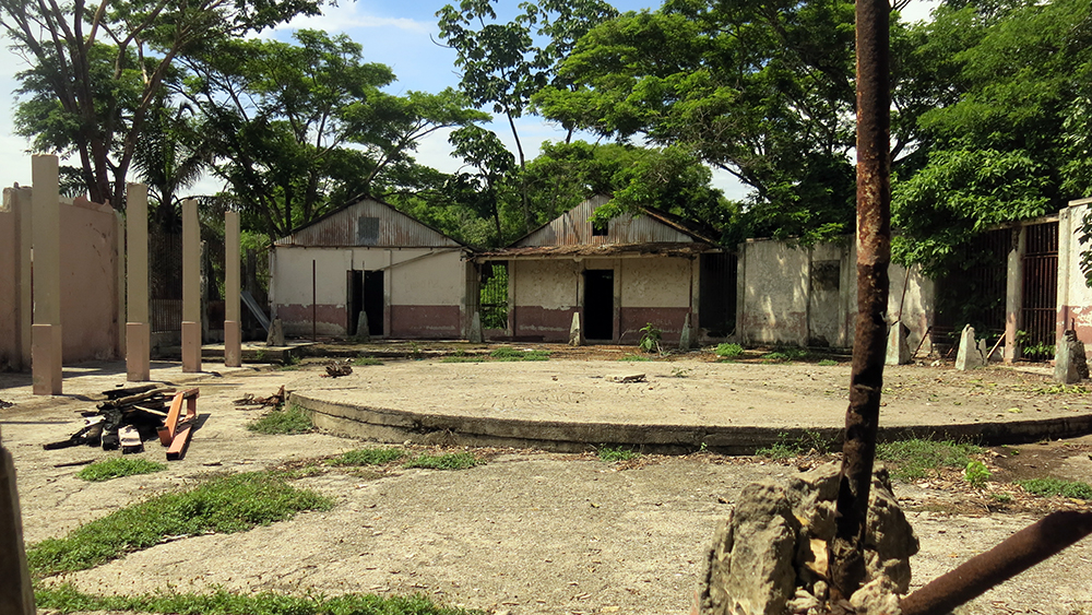 The prison yard at Isla San Lucas with the cistern in the forground