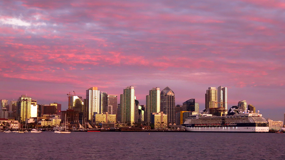 A stunning sunset over downtown San Diego
