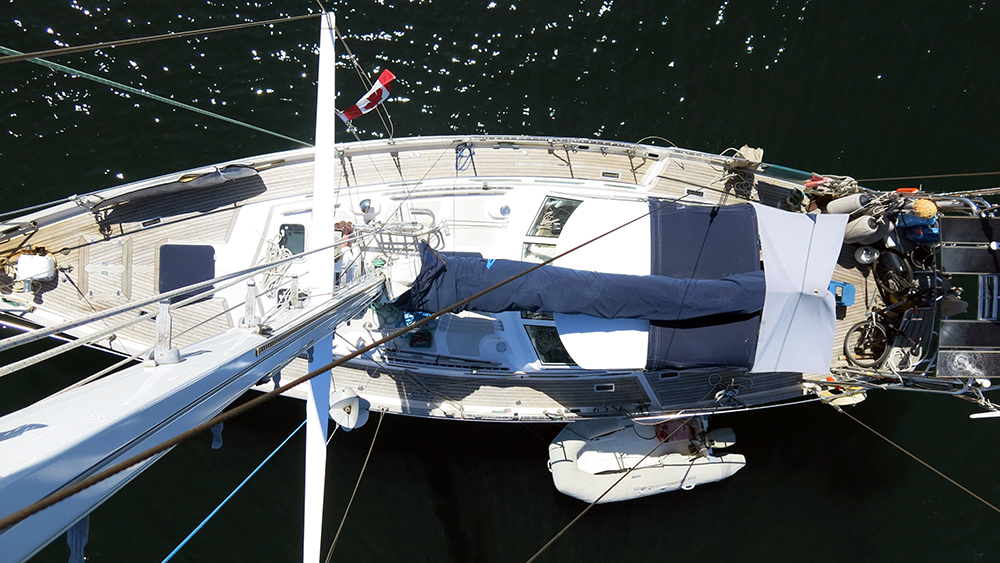 A seagull's eye view of Distant Drummer from the top of the mast