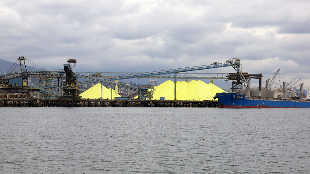 Sulphur mountains in Vancouver Harbor are a by-product of the oil industry